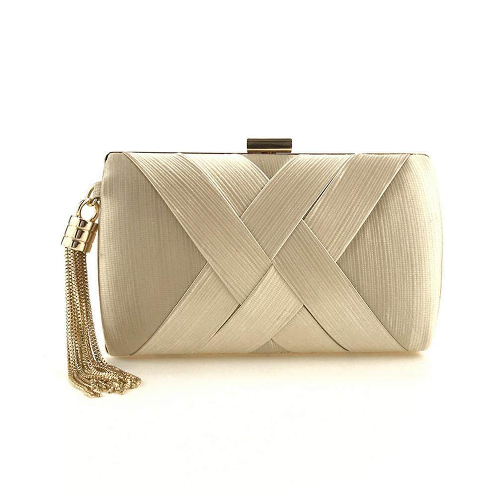 Womens Pleated Satin Evening Handbag Clutch With Detachable Chain Strap Wedding