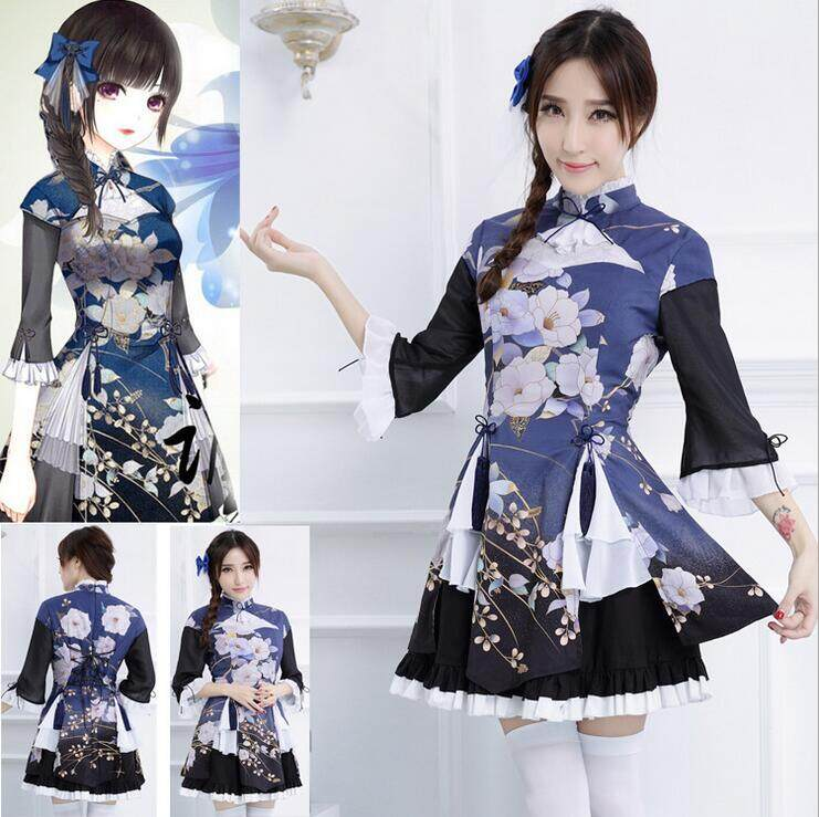 Japanese kimono anime costume maid wear popular game cosplay costume Lolita princess dress