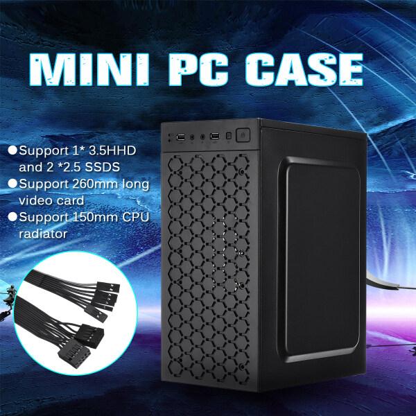 Giá Máy Tính Mini Trường Hợp USB2.0 Chassis Hỗ Trợ 3.5HHD 2.5SSD CPU Tản Nhiệt Tương Thích Với Micro/Bo Mạch Chủ ITX Đen
