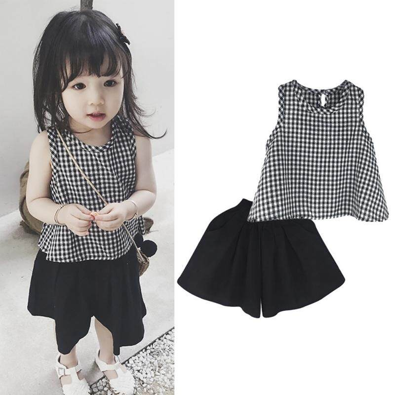 Toddler Girls Summer Plaid Vest Tops+loose Wide Leg Shorts Suits Fashion Kids Baby Girl Sunsuit Clothes Sets Casual Sets By Babyqt.