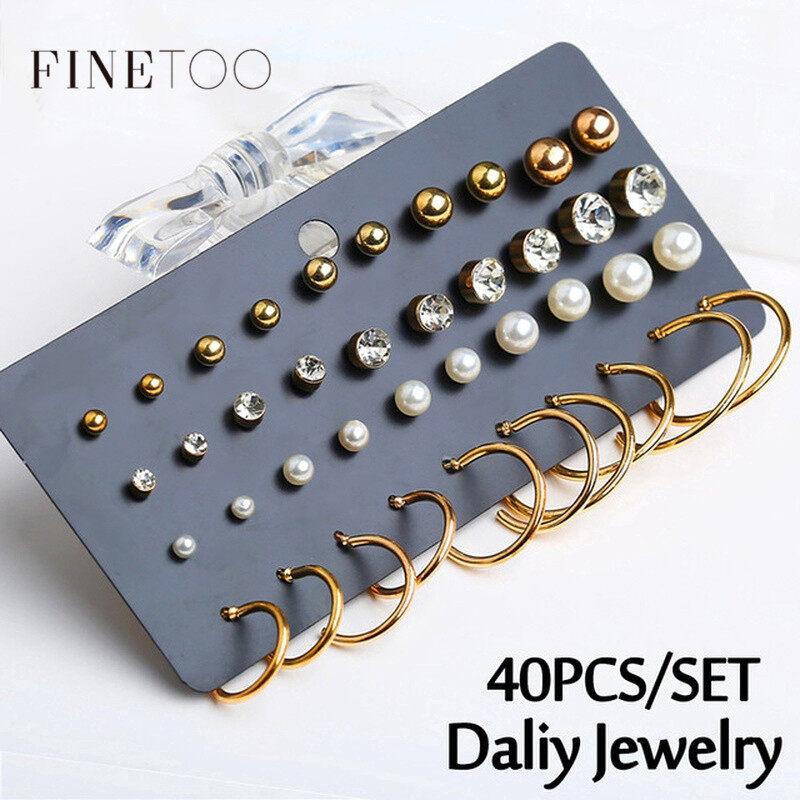 Set 40 chiếc bông tai dạng vòng tròn đính pha lê kim cương giả phong cách sang trọng - INTL