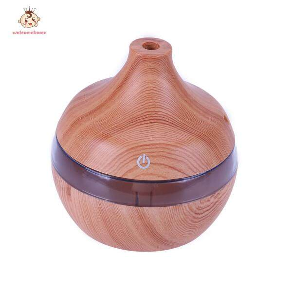 USB 300ml Humidifier Purifier Wood Grain LED Essential Oil Diffuser Singapore