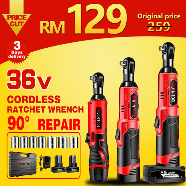 【Ready Stock】85NM Cordless Ratchet Wrench Electric wrench ratchet spanner Power Tools Square Head Drive Air Powered 12V36V 1/2 3/8 set Angle Drill Screwdriver to Removal Screw Nut Dead corner Car Repair Tool 2 Rechargeable Li-ion Battery