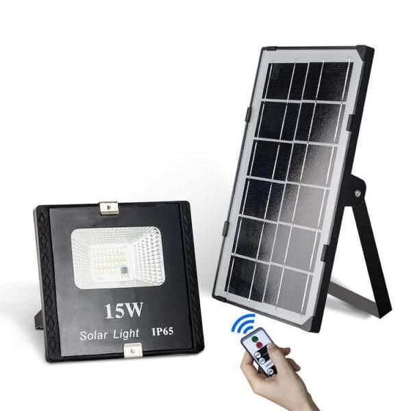Đèn Pha LED Năng Lượng Mặt Trời 15W, Với Điều Khiển Từ Xa, IP65 Không Thấm Nước Thay Đổi Độ Sáng Nhẹ Lũ Lụt Đèn Dùng Ngoài Trời