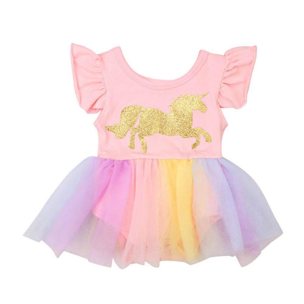 924249454408f Umiwe Newborn baby cute Girls unicorn short sleeve Tutu Lace dress break  fashion colorful Ball mesh suits