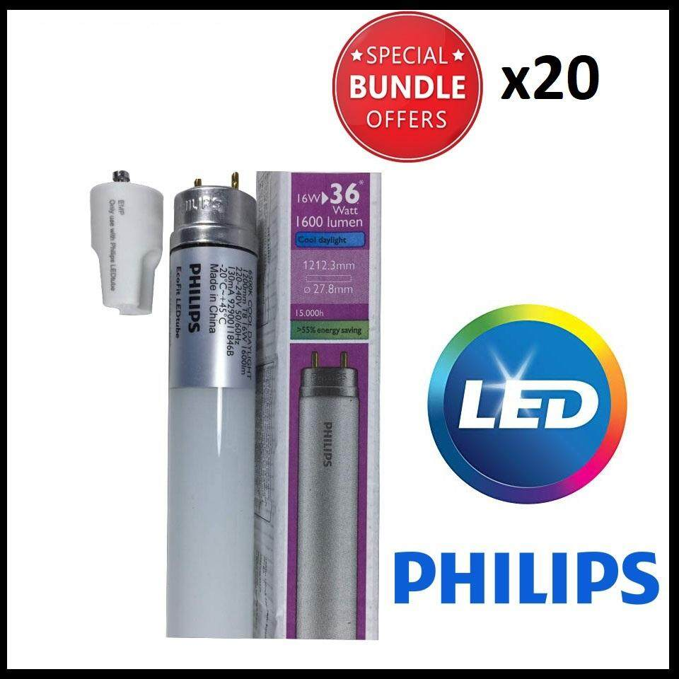 20pcs - Philips EcoFit 16w T8 LED Tube Cool DayLight 4ft 1200mm C/W Bypass  Starter