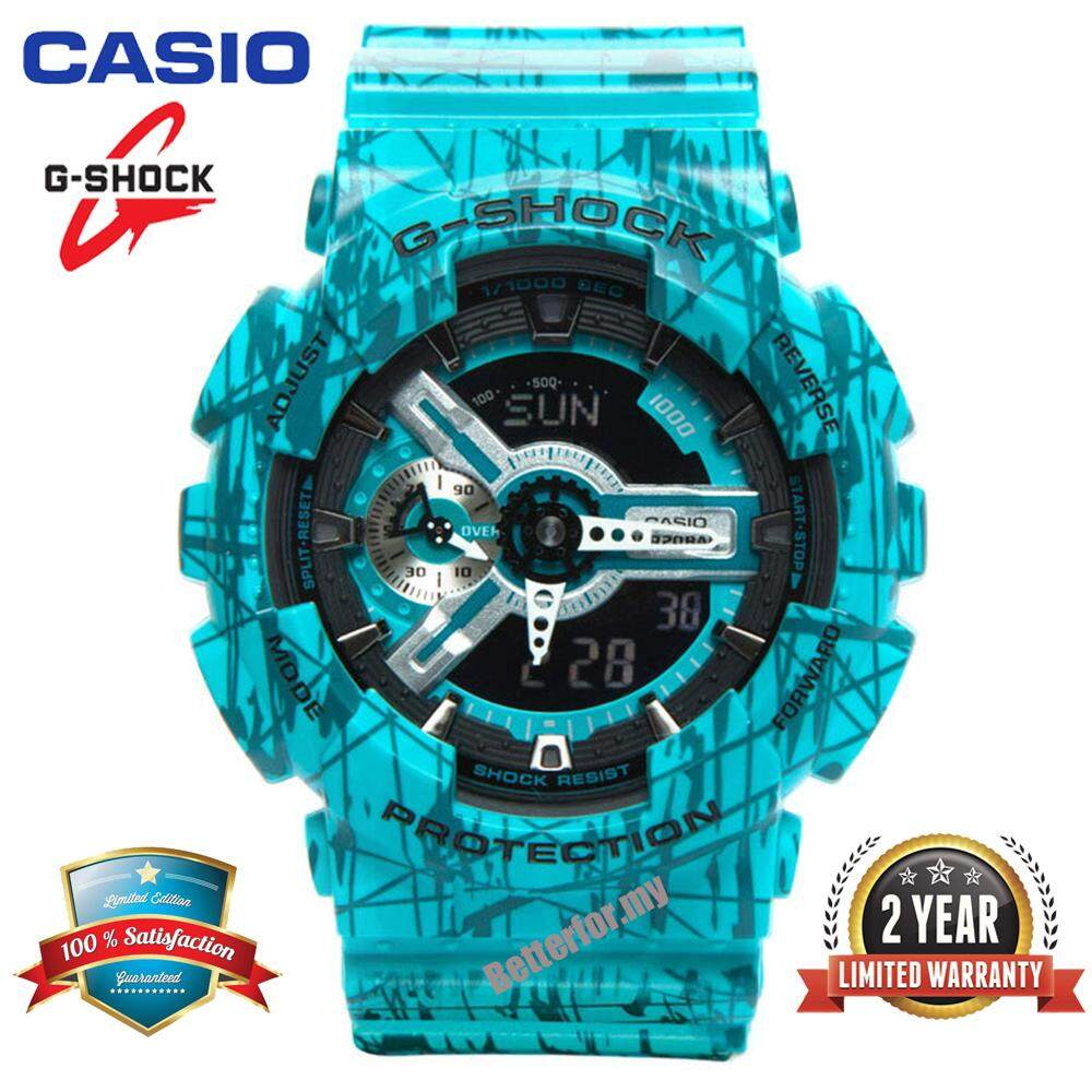 (Ready Stock) G Shock GA110 Men Sport Watch Duo W/Time 200M Water Resistant Shockproof and Waterproof World Time LED Auto Light Wist Sports Watches with 2 Year Warranty GA-110SL-3A Malaysia