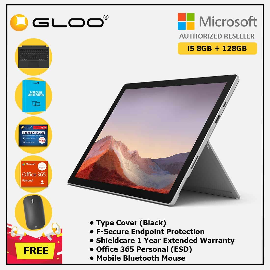 Microsoft Surface Pro 7 Core i5/8G RAM - 128GB Platinum - VDV-00012 + Surface Pro Type Cover Black + Shield Care 1 Year + F-Secure 1 Year + Office 365 Personal (ESD) + Mobile Mouse Bluetooth Black[FOC RM100 Aeon Voucher 21/3/2020 - 31/3/2020] Malaysia