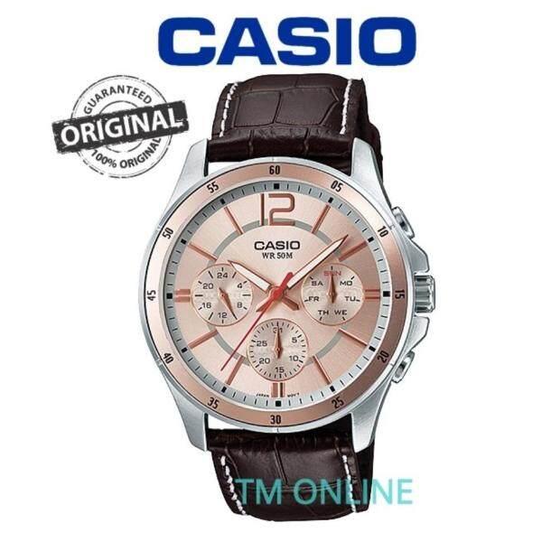 (ORIGINAL+1YR WARRANTY) MTP-1374L-9A CASIO MULTIHAND LEATHER MEN WATCH Malaysia