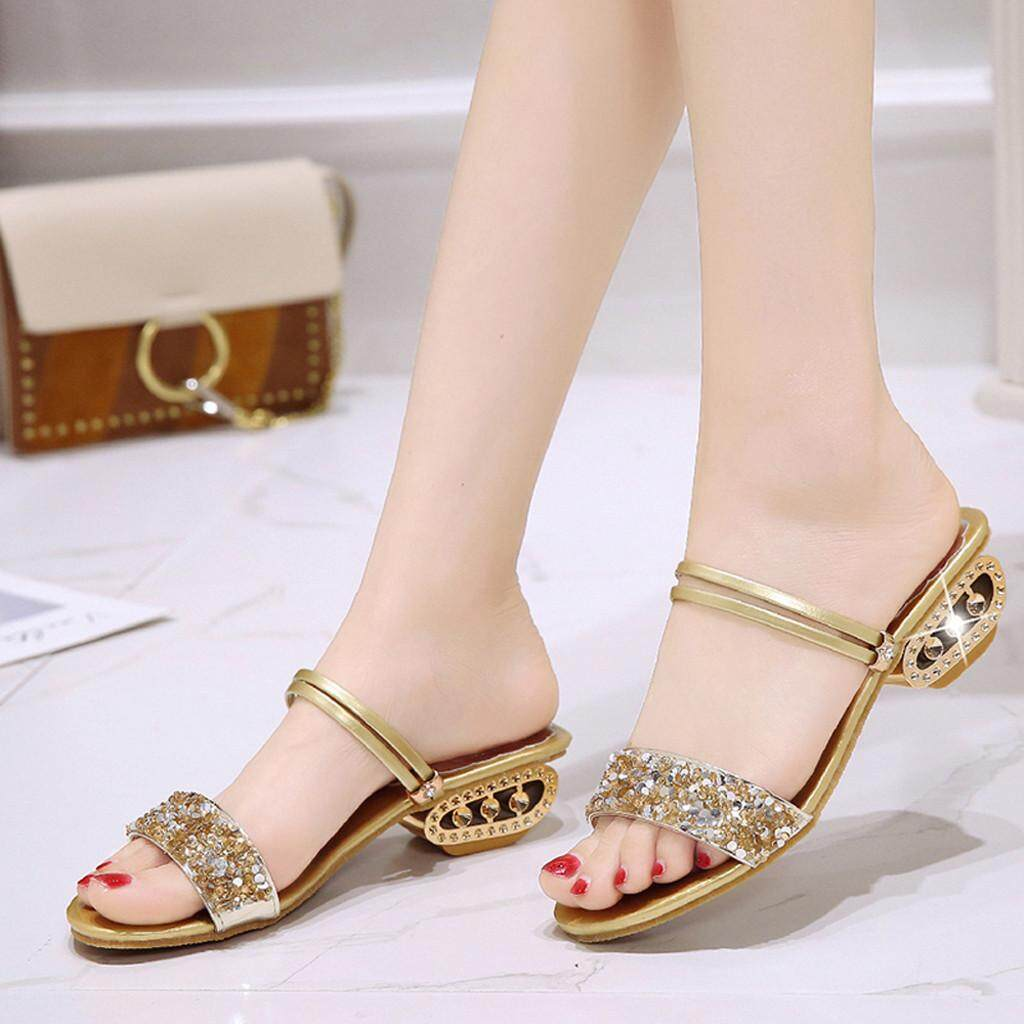 50ef3b2e2fd0 GUO Women Rhinestone Casual Sandals Fish Mouth Sequins Wild Shoes High Heel  Slippers
