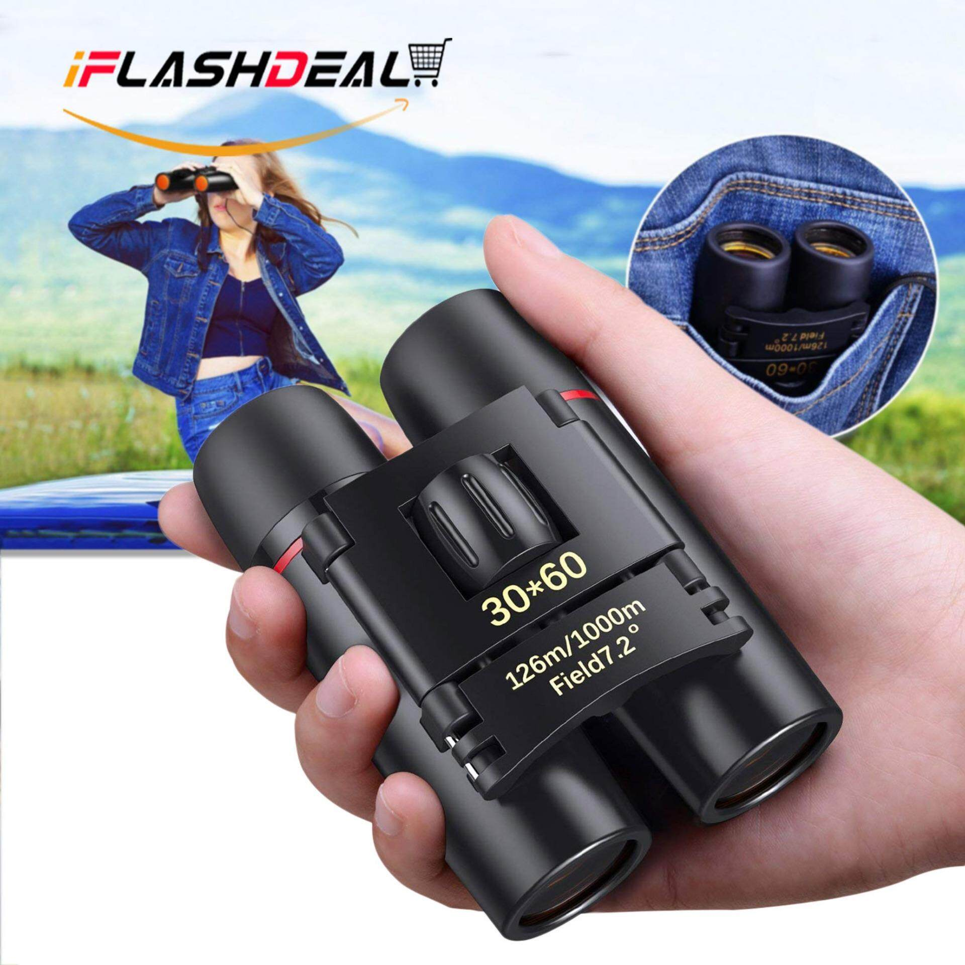 iFlashDeal Mini Folding Binoculars, 30 x 60 Telescope Lens Small Binoculars Compact for Adults Kids