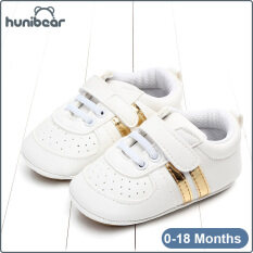【Hunibear】Baby Chàng Trai Cô Gái Giày Trắng Giày Mềm Giày Bé Duy Nhất Thể Thao Giản Dị Giày 0-18 Tháng