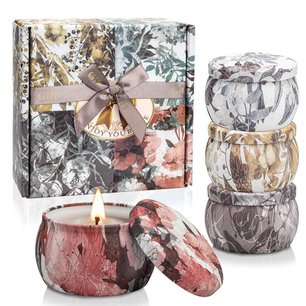 SeaLavender Scented Candles Freesia, Lavender, Rosemary & French Vanilla Aroma Natural Soy Wax Portable Travel Tin Candle, Set Gift of 4