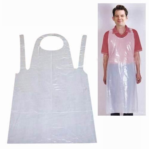 500pcs/5bags Disposable PE Plastic Apron, Waterproof, 140cm length, White