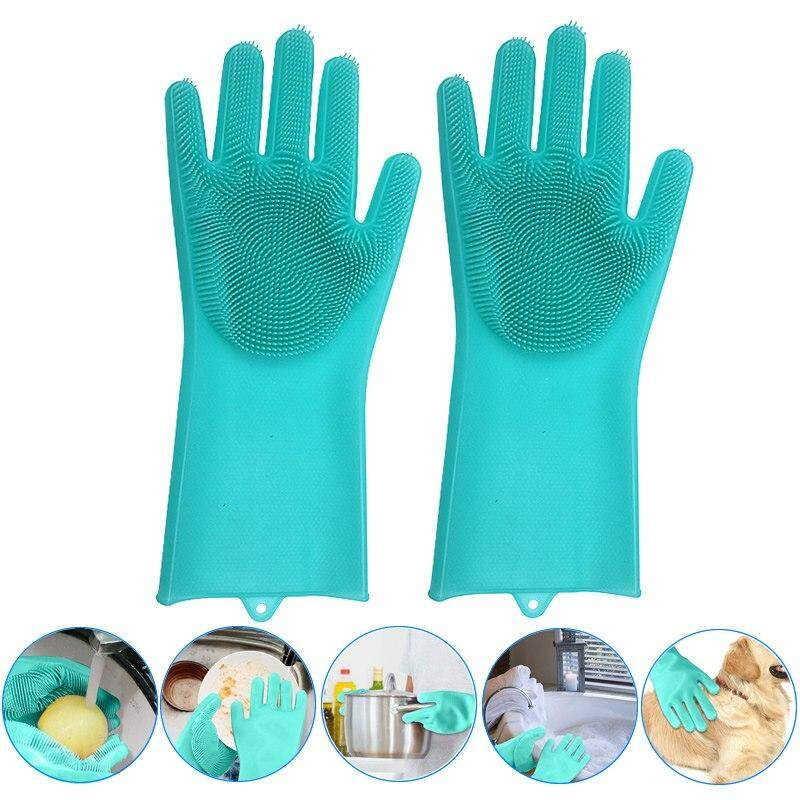 Queo A Pair Kitchen Silicone Cleaning Gloves Magic Silicone Dish Washing Gloves Easy Household Silicone Scrubber Rubber Cleaning Gloves