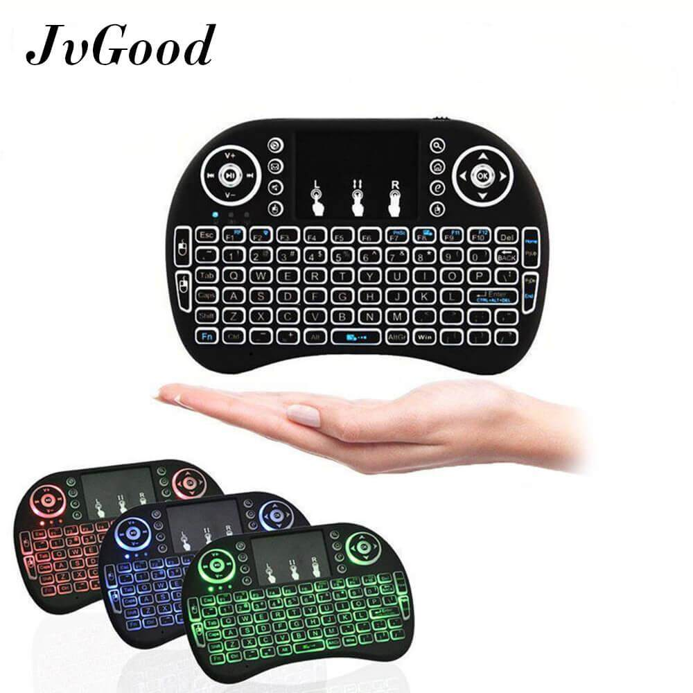 JvGood Backlit 2.4GHz Mini Wireless Touchpad Keyboard Air Mouse Handheld Remote Control Mouse Game Mice Backlight for Android TV BOX PC Smart TV Black Malaysia