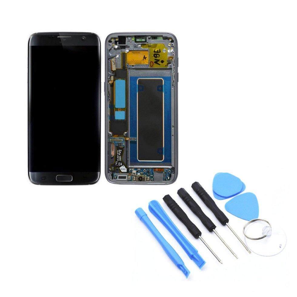 Rakitan Digital Layar Sentuh LCD dengan Bingkai Telepon Seluler Suku Cadang untuk Samsung Galaxy S7 Edge G935F