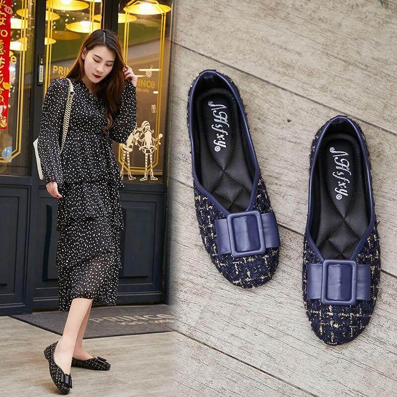 Không Thể Bỏ Qua Giá Hot với Giày Nữ Mùa Xuân Mới Mềm Thời Trang Đậu Giày Đầu Tròn Nông Giày Đế Bằng Nữ