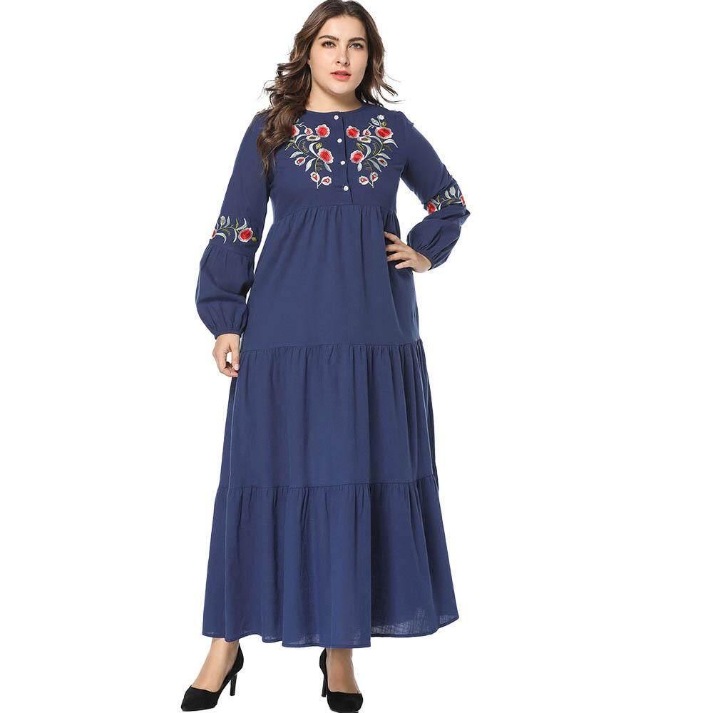 9679f4a969 Women Fashion Dress Autumn Patchwork Abaya Muslim Embroidery Kaftan islamic  Dubai abayas Long sleeve dresses Blue