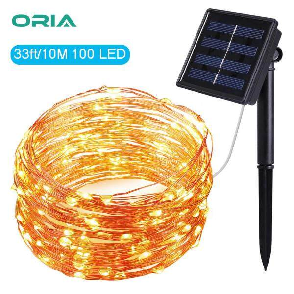 ORIA 33ft/10 Meter 100 LED Fairy Lights, Solar Powered String Lights Indoor Outdoor Waterproof Decoration Lights for Gardens Home Dancing Party Christmas (Warm White)