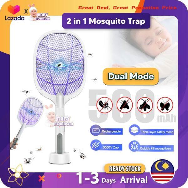 Mosquito Racket Rechargeable 2 in 1 Mosquito Insects Zapper Swatter Racket Insect Zapper Pembunuh Serangga Elektrik Mosquito Trap Perangkap nyamuk