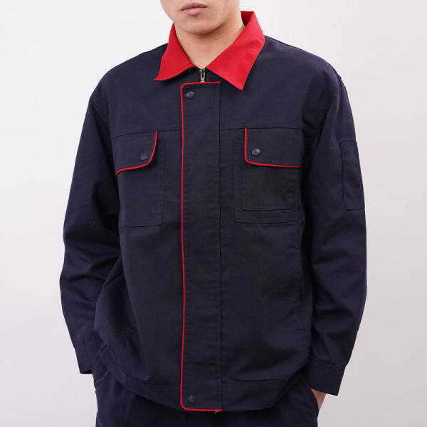 Spring dan Autumn Long Sleeve Cotton Workwear Set Lelaki Wear-Resistant Dustproof Bengkel Kilang Pakaian Welder Pembaikan Kereta Service Pakaian Kerja Pakaian Keselamatan