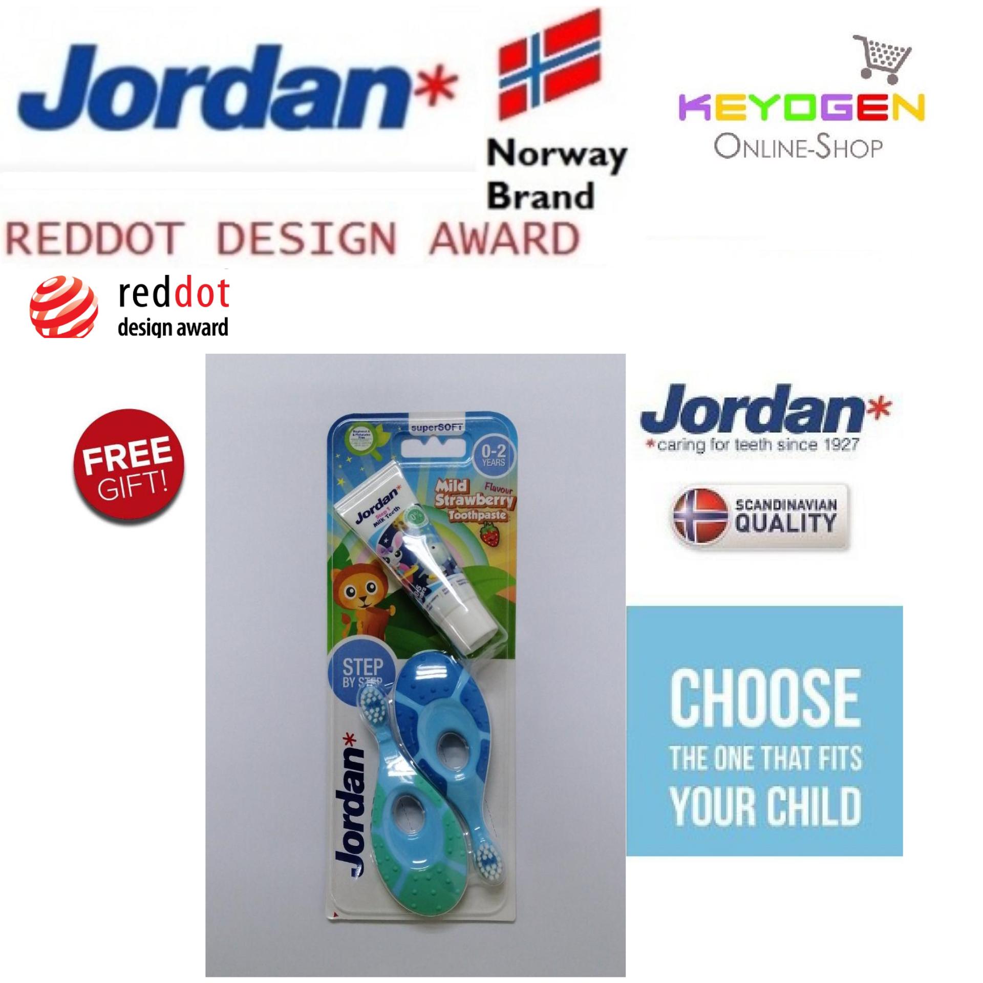 ( Norway brand ) 2 pieces Jordan Step 1 Baby soft Toothbrush 0-2 Years BPA Free - REDDOT DESIGN AWARD ( random color deal ) [FREE Gift]