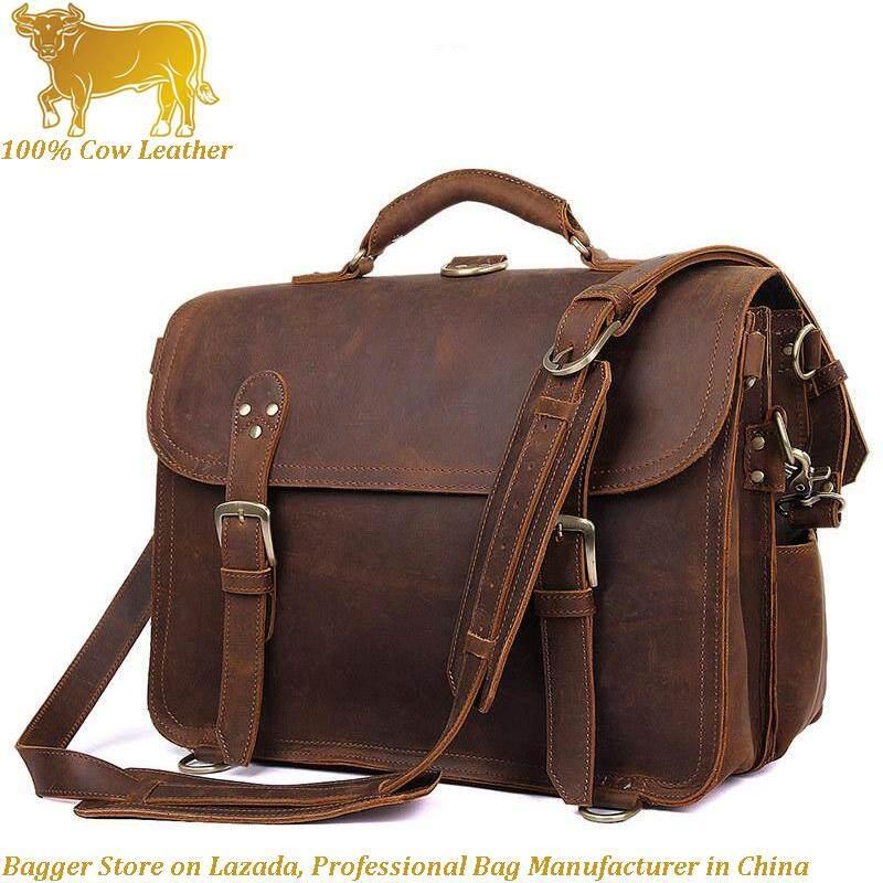 Crazy Horse Leather Big Retro Europe Men Messenger Bag Business Casual  Sling Shoulder Bag Genuine Cow 65e94c74d5869