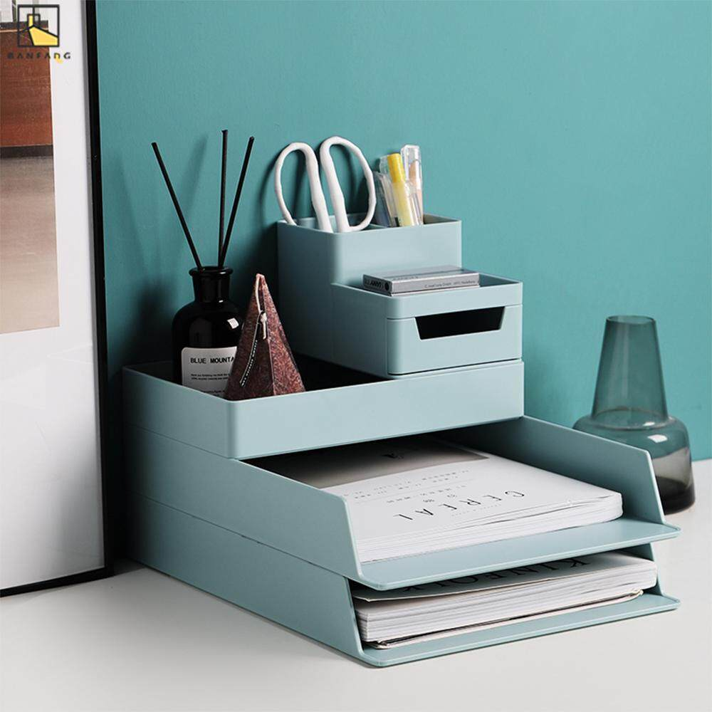 BANFANGCreative office file storage box simple bookshelf pen container stack multilayer desktop A4 paper storage box storage box storage rack storage cabinet storage box organizer storage box container plastic storage container box