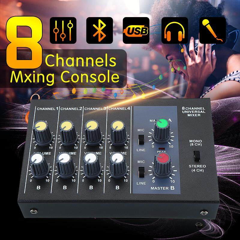 Pro R-X239 8 Kênh Trực Tiếp Phòng Thu Âm Thanh Âm Thanh DJ USB Trộn Bàn Điều Khiển Phối Khí Kỹ Thuật Số