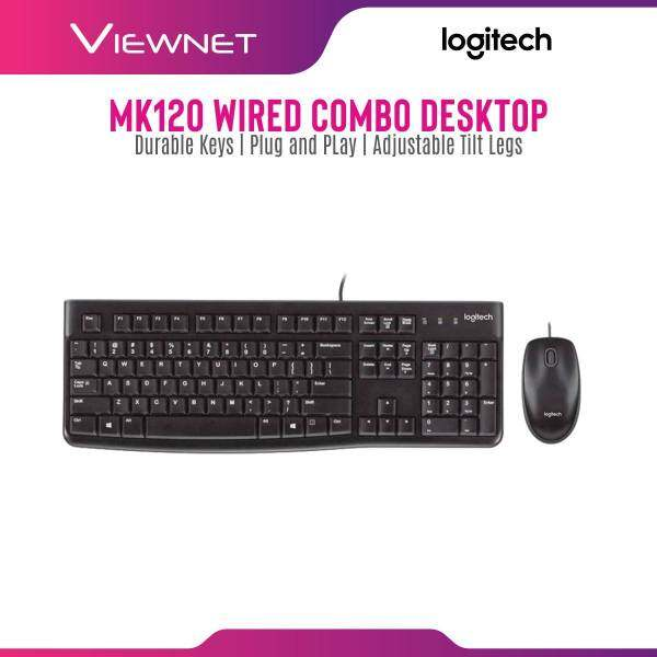 Logitech MK120 USB Keyboard & Mouse Combo with quiet typing, Durable keys, Plug-and-play USB connections Malaysia
