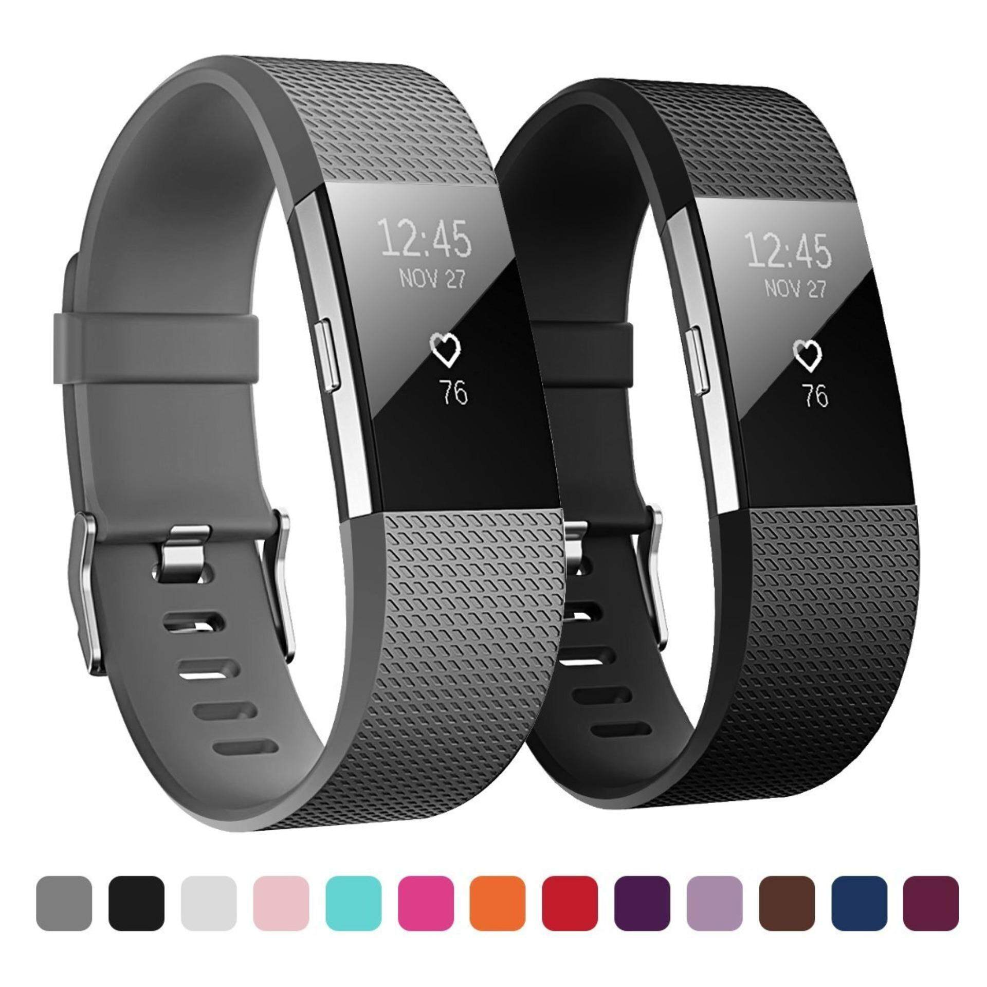 2 Pack Adjustable Soft Silicone Replacement Sport Strap Bands for Fitbit Charge 2 Smartwatch Fitness Tracker