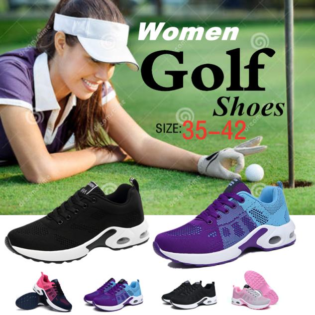 Thời Trang Phụ Nữ Sneakers Chạy Giày, Thể Thao Ngoài Trời Giày Giày Golf Lưới Thoáng Khí Giày Thể Thao Đi Bộ Chống Trượt Đào Tạo Golf Giày Giày Buộc Dây Đệm Khí giá rẻ