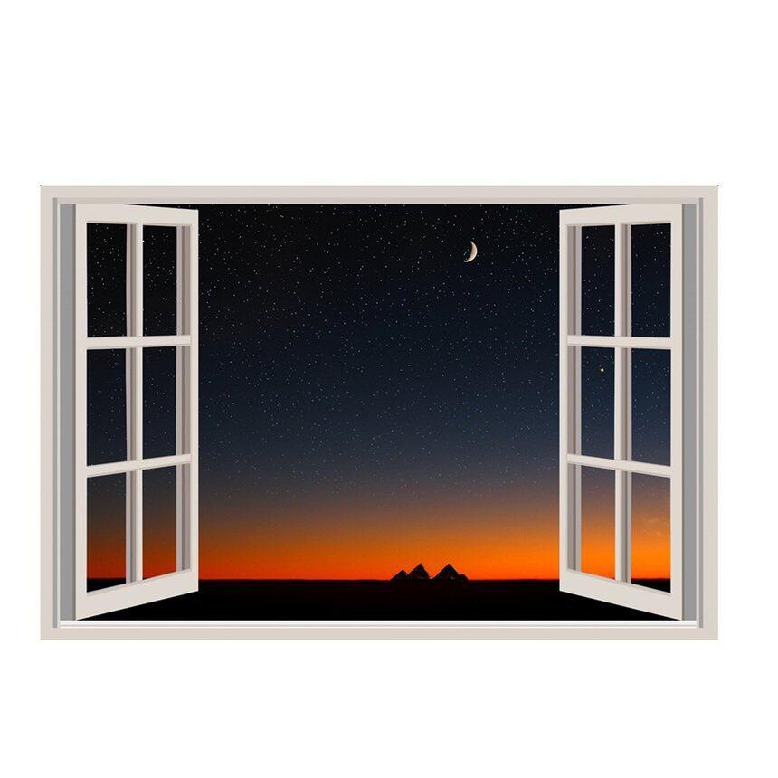 Idream Tranh Tường Đề Can In Tường Bức Tranh Tường Không Gian Mở Với Giấy Dán Tường Ban Đêm Windows