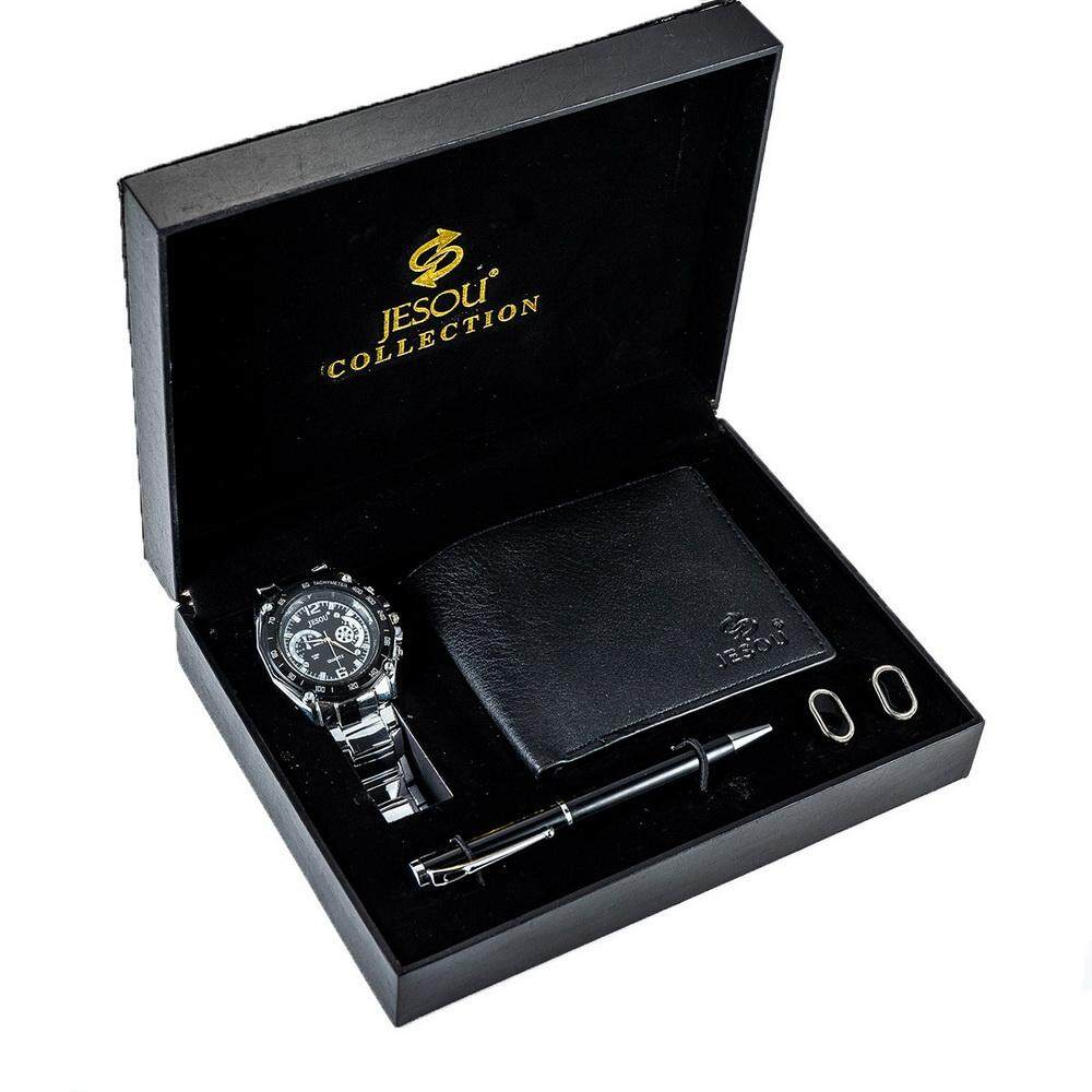 Mens Business Gift Set 4-in-1 Wallet Watch Foundation Pen Cufflinks Combo For Birthday Chritsmas Holidays