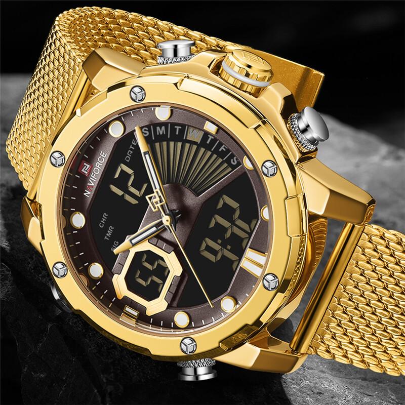 NAVIFORCE Mens Brand Top Luxury Watches Fashion Casual Sport  Stainless Steel Mesh Belt Business Men Quartz Watch Classic Clock Multi-Function Waterproof Men Watch Malaysia