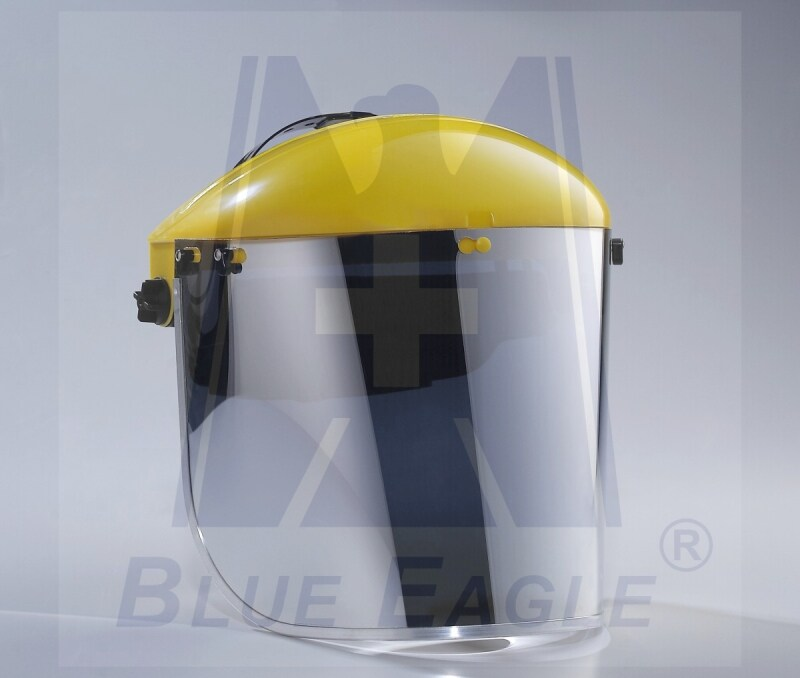 BLUE EAGLE Yellow Browguard ABS Holder B1YE with HG1 Headgear + Aluminized Face Shield Visor FCR3, Certified by CE, ANSI