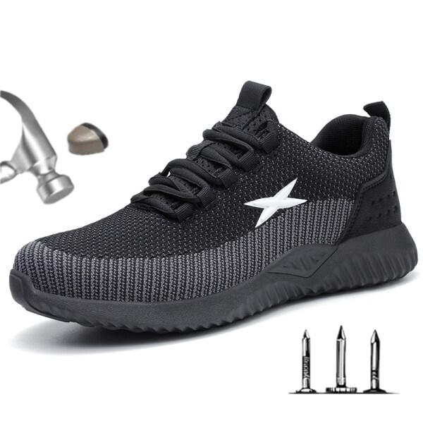 Giày Bảo Hộ Mũi Thép Cho Nam Giày Lao Động Siêu Nhẹ Thoáng Khí Giày Làm Việc Giày Bảo Hộ Chống Va Đập Cỡ Lớn 48