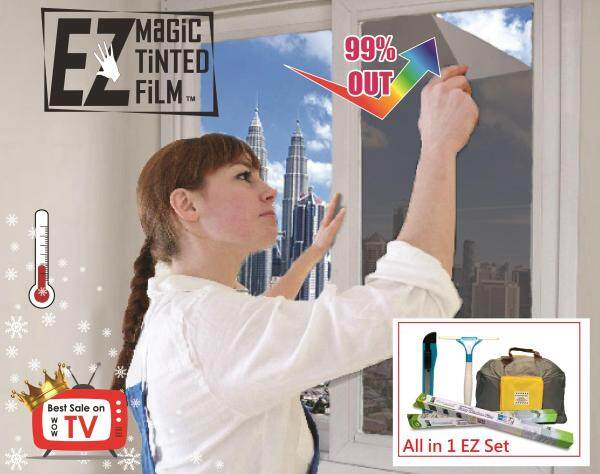 DIY Window Tinted / Model: C10 Gray - 3ft*8ft*2Pcs / EZ Magic Tinted Film / TV 5★ /  Include Tool Easy Set  / ISO High Quality / Privacy / Block UV / Heat Insulation / Protection / Static / Reuse 1000 Times / Building / Car / USA G Brand