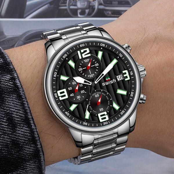 SWISH Alloy Watch for Men Luxury Mens Wristwatches Fashion Chronograph Sport Watch Quartz 2020 Malaysia