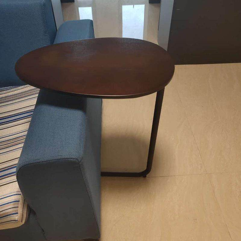 Mobile Coffee Table.Ruyiyu Vintage Snack Side Table Mobile End Oval Table For Coffee Laptop Tablet Slides Next To Sofa Couch Wood Tabletop Furniture With Metal Frame