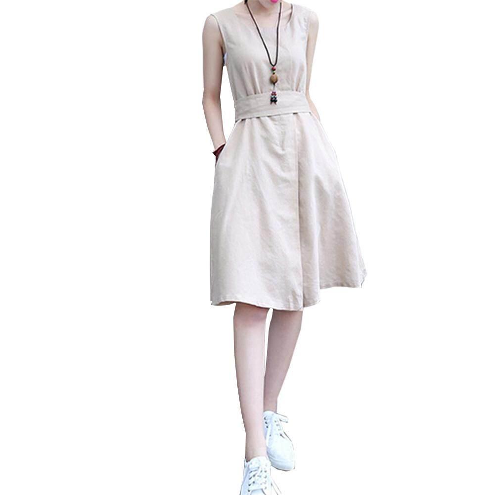 d7a6fba67 SZWL Summer Dress Women Simple Solid Color Slim Sleeveless Cotton Linen  Dress