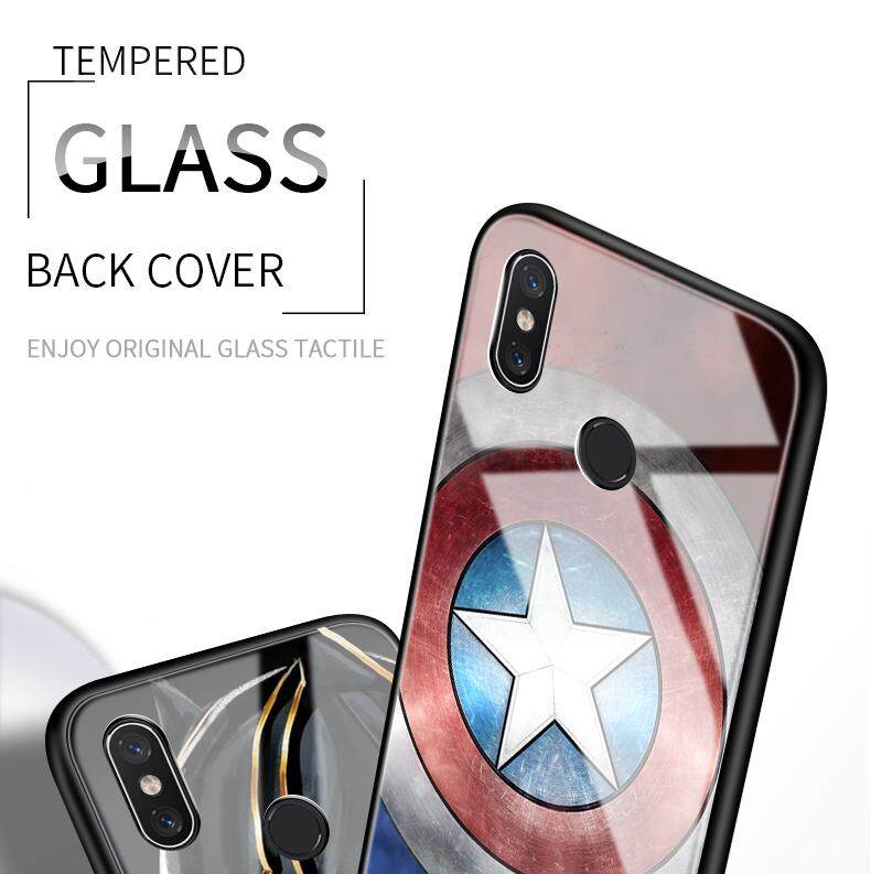 Marvel Avengers Iron Man Captain America Case Shockproof Tempered Glass  Cover For Xiaomi Pocophone F1