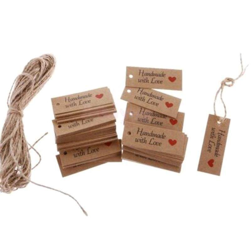 100pcs Labels Lovely Paper Tags Rope Paper Card Tag Labels Handmade With Love Favors By Darahry.