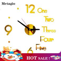 【HOT】Đồng hồ treo tường metagio thời trang, Đồng hồ trang trí phòng khách đơn giản có bề mặt tráng gương 3D