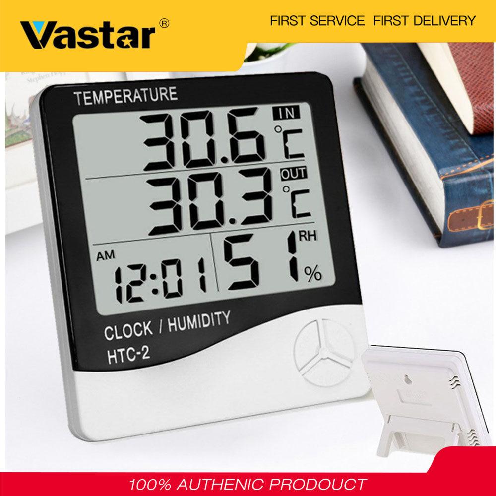 Vastar Máy đo nhiệt độ và độ ẩm màn hình lớn có xem lịch thích hợp dùng trong nhà và ngoài trời - INTL
