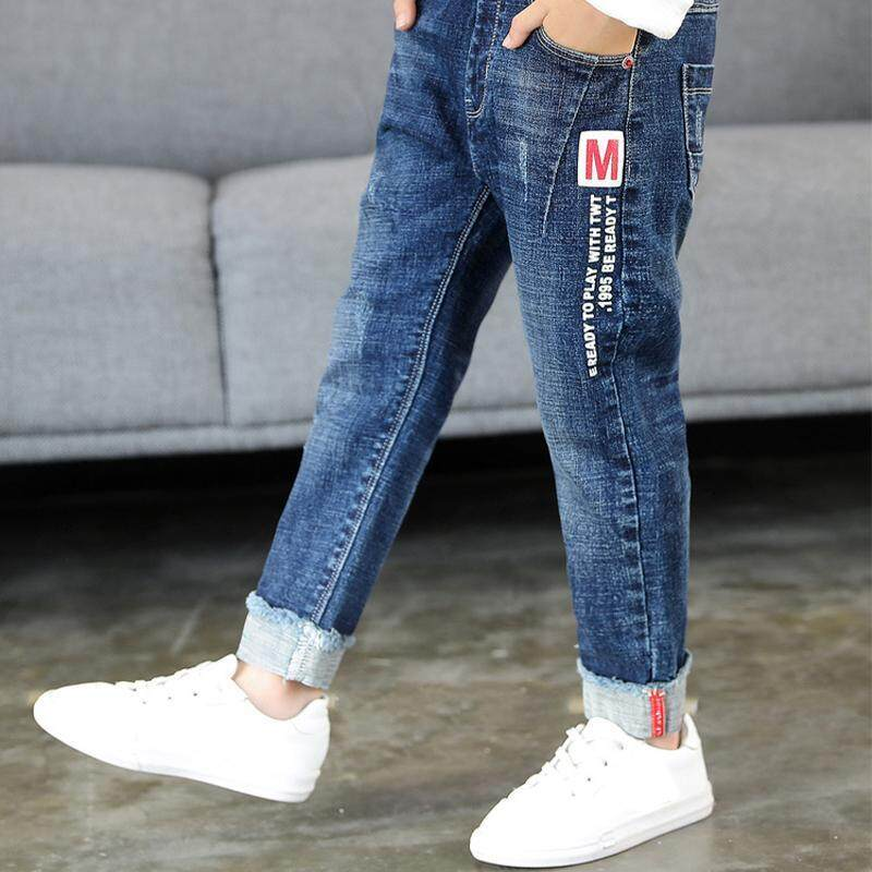 IENENS 5-13 Years Young Boy Casual Clothes Trousers Boys Slim Straight Jeans Kids Baby Children Fashion Denim Clothing Long Pants Elastic Waist Pants