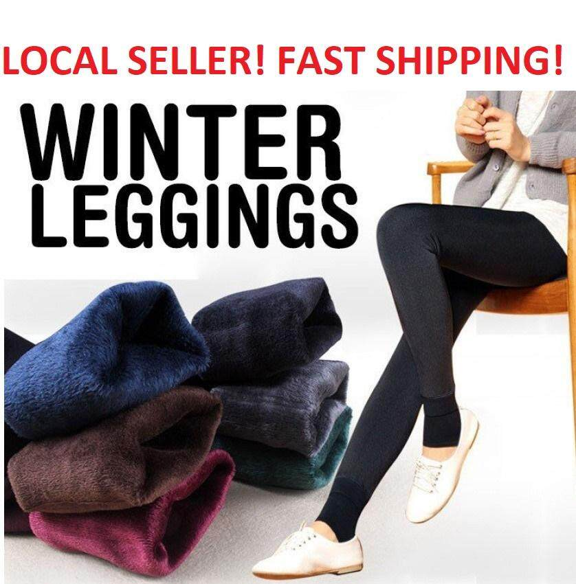 Women Fleece Lined Winter Thick Leggings High Waist Elastic Slimming By 1225mall.