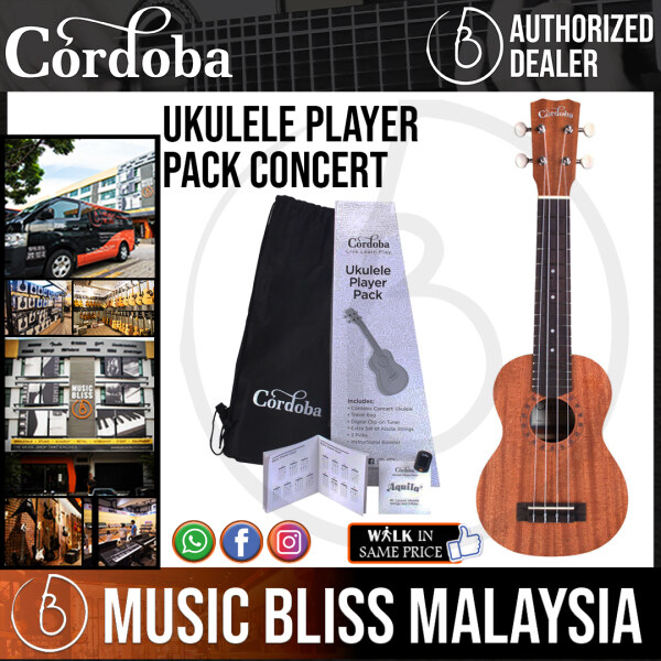 Cordoba Concert Ukulele Player Pack - Mahogany Top, Mahagony Back & Sides with Gig Bag, Instructional Book, and Strings Malaysia