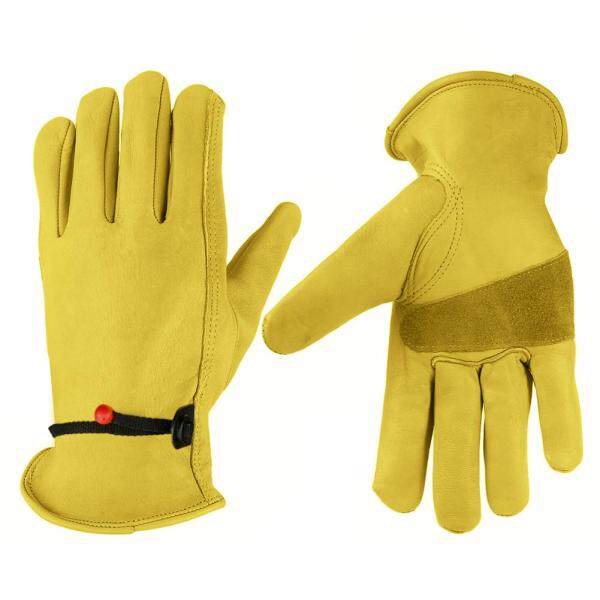 1 Pair Non-slip Cowhide Leather Work Safe Gloves Welding Protection Gloves for Garden Motorcycle Wear-resisting Fit Porter